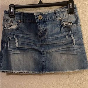 A denim mini skirt